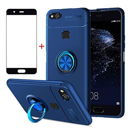 AKABEILA Cover Huawei P10 Lite, Vetro Temperato Huawei P10 Lite, Compatibile con Huawei P10 Lite Custodia Silicone Pellicola [Metallo Squillare Grip Supporto] Antiurto Cover, Blu