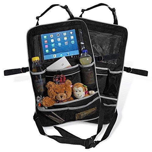 Premium-Rücksitztasche fürs Auto mit Tablett-Fach | Rücksitz-Organizer perfekt für Kinder | Geräumige Rücklehnentasche für Reise-Utensilien & Spielzeug | Abwaschbarer Rücklehnenschutz (2er Setl)