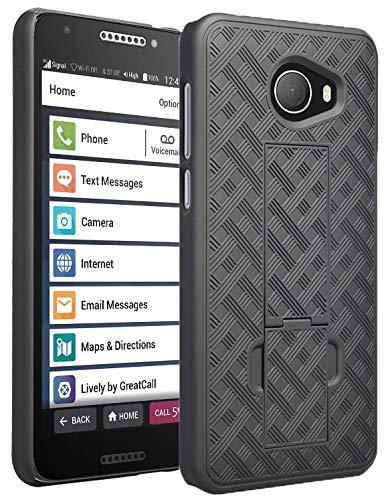 Case for Jitterbug Smart2, Nakedcellphone [Black Tread] Slim Ribbed Rubberized Hard Shell Cover [with Kickstand] for GreatCall Jitterbug Smart2 Phone (5049SJBS2, Smart-2)