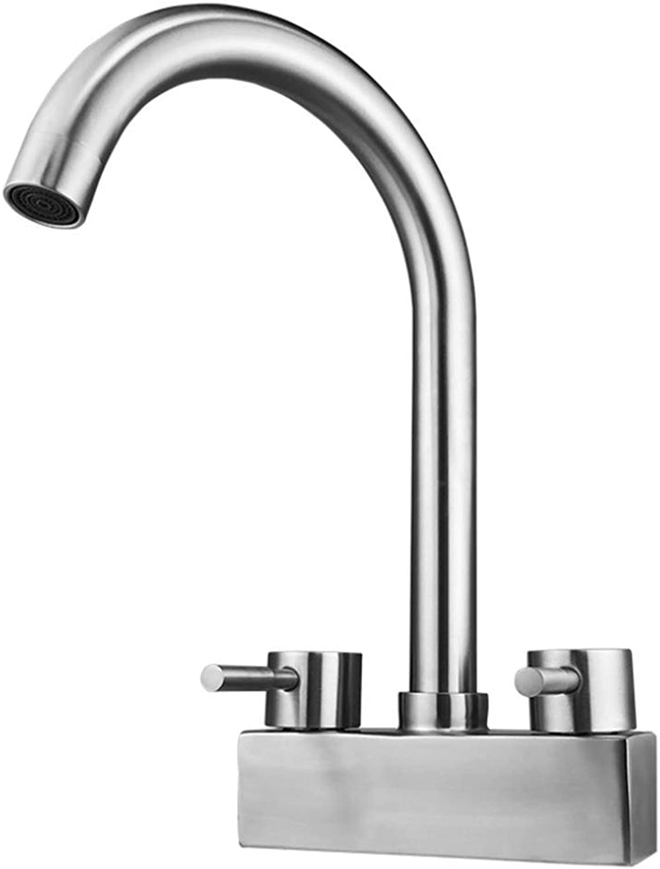 Basin Mixer Tap Bath Fixtures Wash Basinsinkkitchen 304 Stainless Steel Washbasin, Cold and Hot Faucet, Double Double Swivel Basin, Washbasin Faucet.
