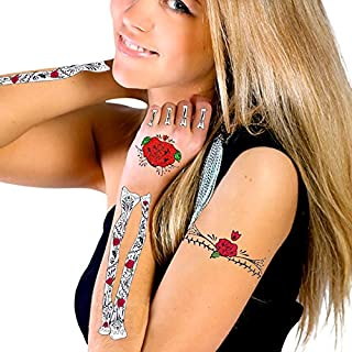 Glitter Red Roses Day of the Dead Hand & Arm Bones Temporary Tattoo Kit by CA Tattoos