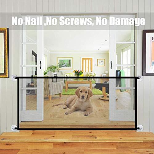 Coil.c - Barrera de seguridad para escaleras, rejilla de protección para puerta, valla para mascotas, plegable, red de seguridad portátil para bebés, perros y gatos, 18072 cm