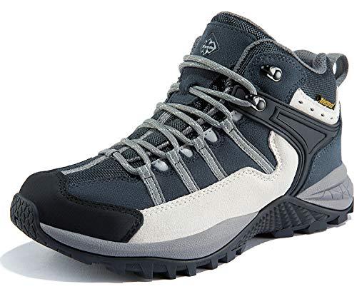 Wantdo Zapatos de Trekking Botas de Montaña de Gamuza Moda Casual Botas de Montaña Multideportivas Gris Y Blanco 43