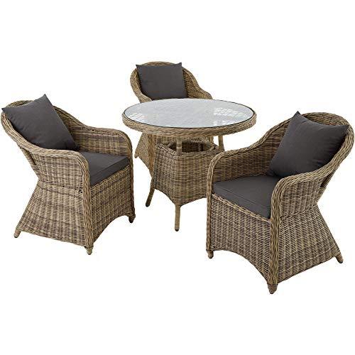 TecTake 800827 Conjunto de ratán Zúrich con Tres sillones, Set de Muebles de jardín, Conjunto de Mesa y sillas de poliratán, Mobiliario de Exterior (Natural)