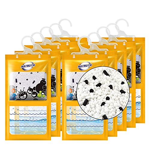 NATRUTH 10-PACK Moisture Absorber Packets,Activated Charcoal Moistureproof Desiccant Hanging Bag 9.15oz Use for Kitchen Bathroom Wardrobe, Humidity Packs, Hanging Closet Dehumidifier Bags for Closet