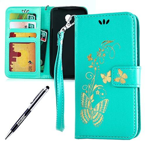 Kompatibel mit Motorola Moto G 2.Generation Hülle Hülle Luxus Gold Schmetterling Muster Lanyard/Strap Pu Leder Hülle Handytasche Brieftasche Etui Schutzhülle Flip Wallet Case Cover Grün