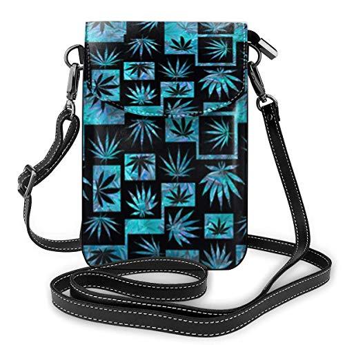 Crossbody Handy Geldbörse Marihuana Weed Leaf Frauen PU Leder Multicolor Handtasche mit verstellbarem Riemen