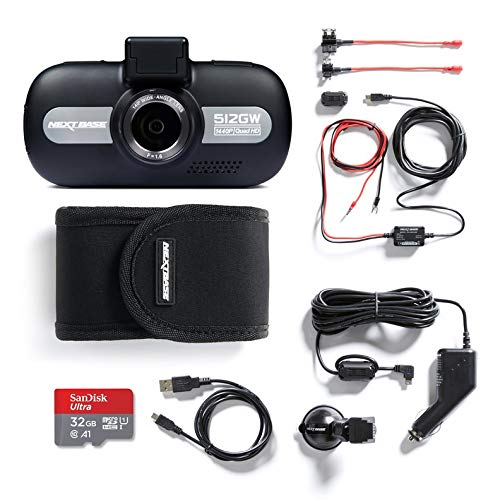 """Nextbase 512GW 1440p 3"""" LED Screen HD In-Car Dash Camera Video Recorder with WiFi and GPS, Night Vision, Bundle Kit with Click + Go Mount, Hardwire Kit, 32GB SD Card and Protective Case"""