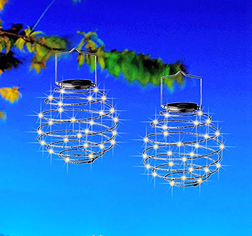 Solar Powered Spiral Hanging Lights, 6.3in/16cm 30 Waterproof LEDs Lanterns Outdoor for Garden Wedding Party Christmas Tree Decorations (2 Pack Warm White)