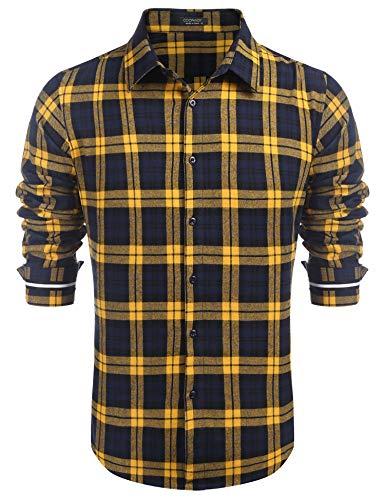 COOFANDY Hemden Herren kariert Regular fit Langarm Hemd frezeit für Herren Hemd(Navy Blau-Gelb,S)