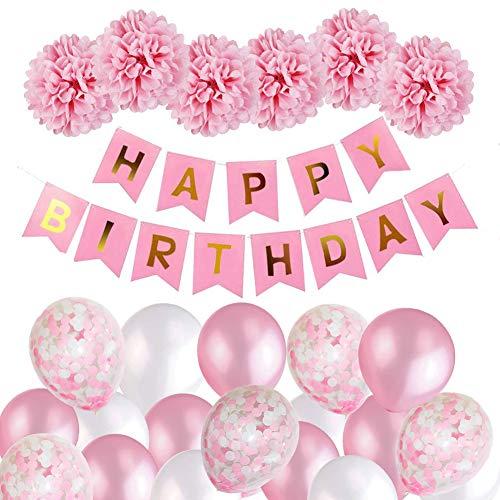 MMTX Geburtstagsdeko Mädchen, Happy Birthday Girlande Ballons Banner Set mit Geburtstag Dekoration,Seidenpapier Pompoms Rosa und Rosa Ballons für Mädchen Freundin Tochter