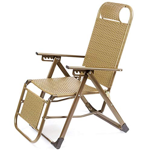 WYJW Tuin PE Rotan Ligstoel Zon Ligstoel Lunch Break Siesta Bed Lazy Strandstoel Huishoudelijke Patio Meubilair met Armrest Hever 6 Multifunctionele Gouden Draagbare Stoel