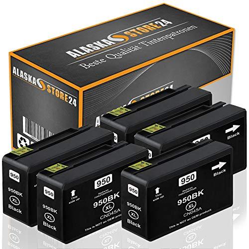 Alaskaprint 5X Druckerpatrone Komp. für HP 950 XL 950XL Schwarz Black BK für Officejet Pro 8600 8610 8620 8100 8615 8625 251dw 276dw e-All-in-One Patronen