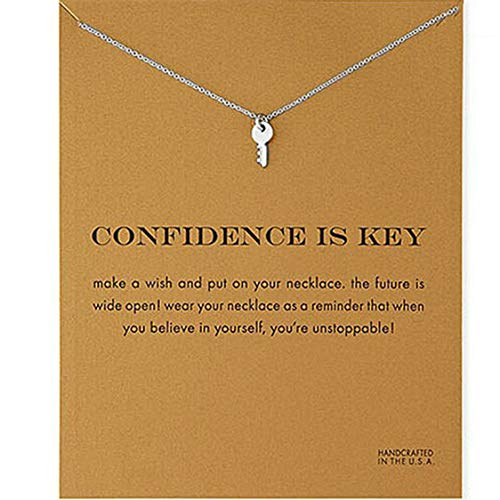 Idiytip Women Necklaces Sterling Silver Pendant Gold Plated Necklace Jewellery for Ladies Girls,Key Silver+Card
