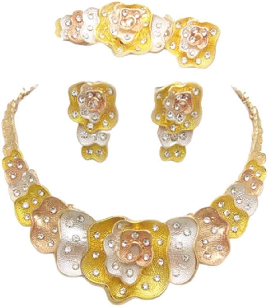 Jewelry Set 3 Color Flower 24K Gold Necklace, Earrings, Bracelet & Ring Middle East Dubai Women Fashion Big Jewelry Set 4-Piece, Ideal for Versatility, Prom, Bridal Wear