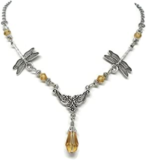 Dragonfly Necklace with Amber Colored Beads - Outlander inspired Jewelry