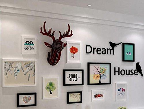 Fotolijst 11 Fotolijst +Acryl Birdie Letter Muursticker+Splice Auspicious Deer,Nordic Minimalist Woonkamer Decoratie Photo Wandhal/ingang/bank Achtergrond Muur Combinatie