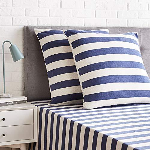 Amazon Basics - Kissenbezüge, Jersey, 2er-Pack, breite Streifen, 80 x 80 cm, Marineblau