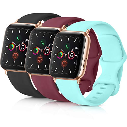 Pack 3 Compatible with Apple Watch Band 38mm 40mm 42mm 44mm, Soft Silicone Band Replacement for Apple iWatch Series 4, Series 3, Series 2, Series 1 (Black/Wine Red/Light Blue, 42mm/44mm-S/M)