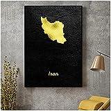shmeksss Canvas Malerei Gold Map Iran Leinwand Malerei