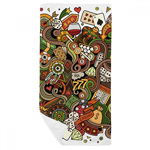DIYthinker Carte Bar Casino Poker Chips Jackpot Illustration Serviette de Bain Doux Gant de Toilette Gant de Toilette 35X70Cm 35 x 70cm Multicolor