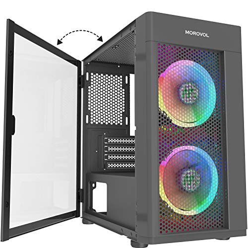 MOROVOL Mesh Micro-ATX Tower Computer Case, 2PCS × ARGB Fans Preinstalled and 2×USB 3.0 Ports, Magnetic Design Opening Tempered Glass Panel & Mesh Front Panel Gaming PC Case(TW7-S2-BL