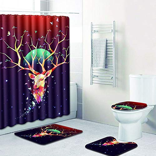WANJIA Rutschfestes Badezimmer-Set, Duschvorhang + Badematte + U-förmige Badematte + WC-Abdeckung 4 Kombinationen+12 Haken für Duschvorhänge. 50 * 80cm W180612-D025