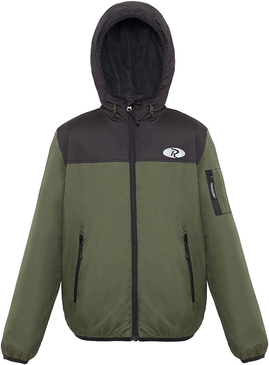 Rokka&Rolla Boys' Hooded Lightweight Water Resistant Zip-Up Windbreaker Jacket: Clothing