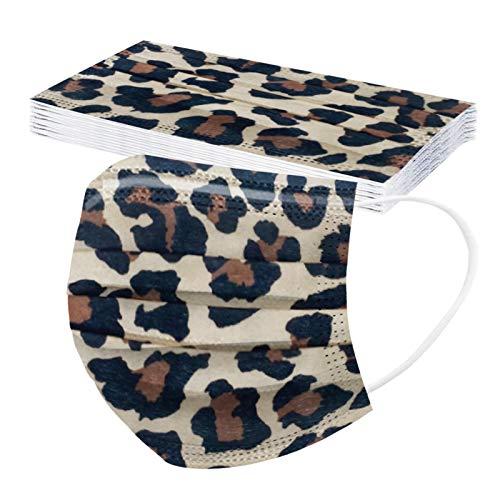 Rabbiter 10-100 Stück Leoparden Mundschutz Einweg Erwachsene Mund und Nasenschutz Bedruckte Atmungsaktiv Staubschutz Bandana Maske Halstuch Schals für Damen Herren