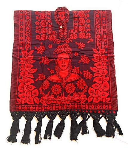 Grahmart Authentischer mexikanischer Poncho Cobija Gaban Decke mit Frida Design - Rot - Einheitsgröße