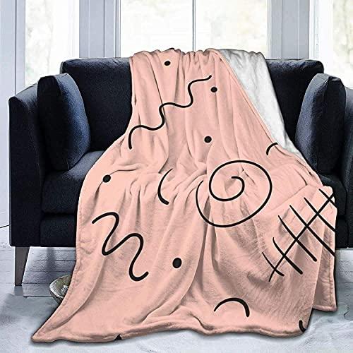 Manta negra de líneas lindas ultra suave de micro forro polar manta súper suave y acogedora para cama, sofá, sala de estar, playa, picnic, otoño, primavera, invierno