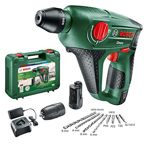 Bosch 060398400E Martillo perforador a batería Uneo, 12 V, 2 baterías, Con portabrocas para broca cilíndrica, Power for all, SDS Quick, 4 puntas, Maletín, Perforación máxima en hormigón 10 mm, 2,5 Ah
