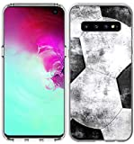 S10 Case Design/IWONE Designer Rubber Durable Protective Skin Transparent Cover Shockproof Compatible for Samsung Galaxy S10 Colorful Creative Vintage Soccer Football