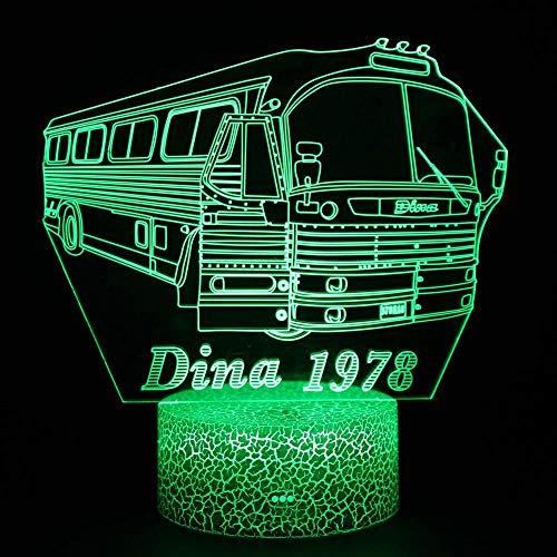 Luces nocturnas 3D para niños Coche de autobús 7 colores cambian la luz nocturna para niños con Smart Touch Regalos perfectos para niños y decoración de habitaciones.