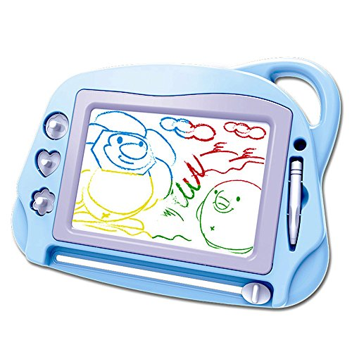 AiTuiTui Magnetic Drawing Board Mini Travel Doodle, Erasable Writing Sketch Colorful Pad Area Educational Learning Toy for Kid / Toddlers/ Babies with 3 Stamps and 1 Pen (Sky Blue)