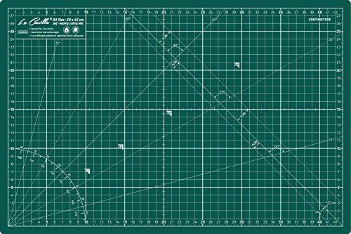 """La Canilla Base de Corte Autocicatricante Patchwork A3 (45x30cm y 18x12"""") 5 Capas con Cuadrícula, para Costura y Manualidades (Verde)"""