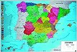 Close Up Póster Mapa Físico Político de España (91,5cm x 61cm) + 2 Marcos Transparentes con suspención