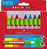 Faber-Castell 120014 - Wachsmalkreiden mit Schiebehülse, 10 Stück im Etui