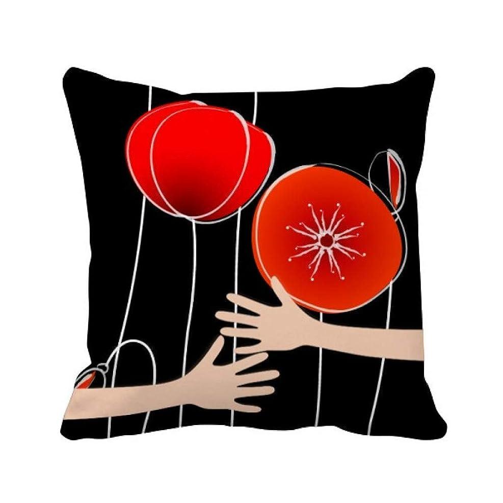 南方のかわいらしいカプセル抽象的で赤いサークルラインアートコーンポピー花 枕カバーを放り投げてハグスクエア 50cm x 50cm