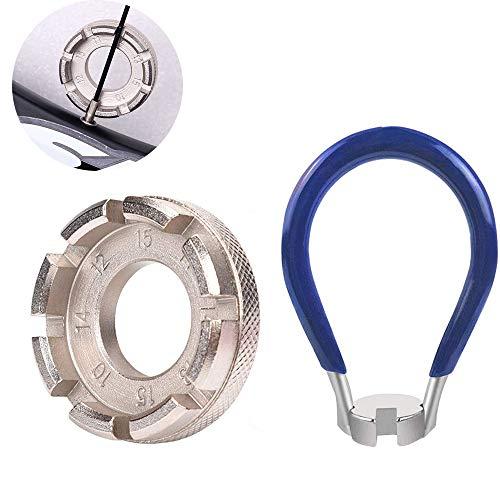 Jurxy Fahrrad Speichenschlüssel aus Stahl Größe Rad Zentrierer 8-Fach 10-15 Nippelspanner für 14G Speichen Werkzeug Speichenspanner Speichennippel Universal für Fahrrad, Leichtes Elektrofahrzeug, MTB