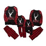 Ropa de Dormir navideña Pijamas de Feliz Navidad para Hombres Conjunto de Pantalones de Ropa de Dormir de Navidad a Cuadros de Familia a Cuadros de Ciervos