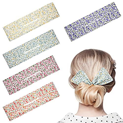 5 Stücke Geschickter Haarknoten Macher Blumen Haarknoten Hersteller Haarband Twist Haar Dutt Macher Sommer Dutt Macher Magie Clip Haar Twist für Frauen Mädchen, 5 Farben