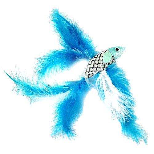 Pet Fit For Life 2 Fish and Feather Teaser and Exerciser for Cat and Kitten - Cat Toy Interactive Cat Wand