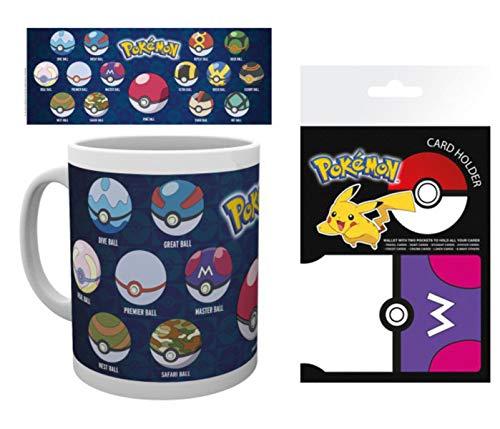 1art1 Pokemon, Pokeballs Poké Ball Master Ball Foto-Tasse Kaffeetasse (9x8 cm) Inklusive 1 Pokemon EC-Kartenhülle Kartenetui Für Fans Und Sammler (10x7 cm)