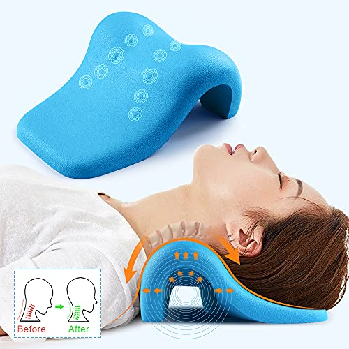 Neck Stretcher for Neck Pain Relief, Mkicesky Neck Posture Corrector Chiropractic Pillow, Neck Support Shoulder Relaxer Cervical Traction Device for TMJ Pain Relief and Cervical Spine Alignment
