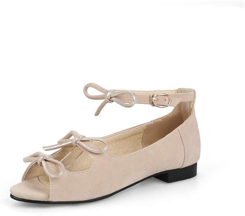 ZHZNVX Women's Synthetics Summer Sandals Flat Heel Pointed Toe Bowknot Buckle Black Beige Pink