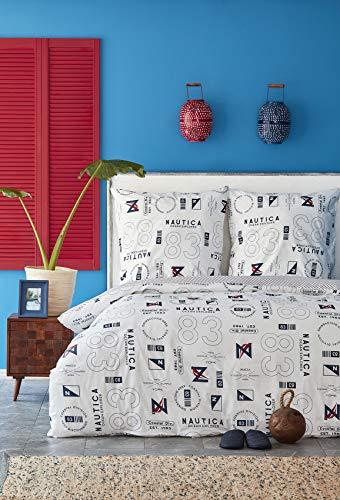 NAUTICA Home Discovery - Juego de funda de edredón y funda de almohada (100% algodón, 200 x 220 cm y 70 x 90 cm)