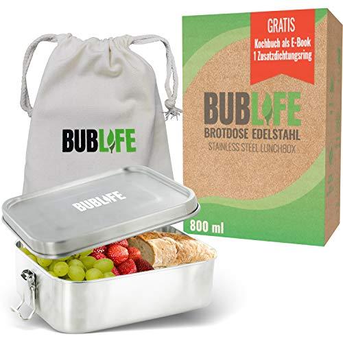 BUBLIFE Fiambrera de acero inoxidable, antigoteo, 800 ml, 1 separador, 2 juntas, fiambrera sostenible, fiambrera para el desayuno, fiambrera para niños y adultos