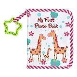 QLOUNI Rote Baby-Fotoalbum, 19x15x1.5cm, Spielgefährten, Album aus Stoff mit 10 Seiten Einstecktaschen für 8 Fotos im Format ab 12 Monaten