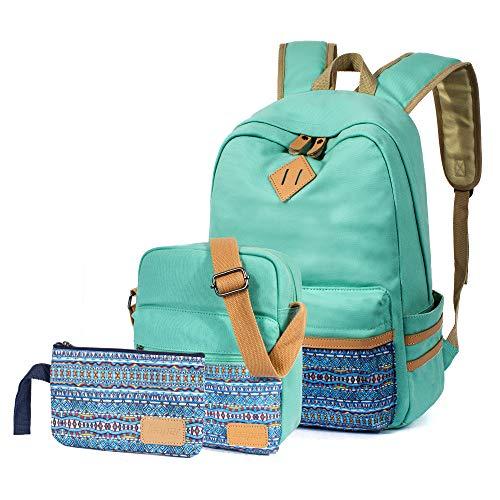 Leaper Rucksäcke für Frauen Rucksack Set Schultertasche börse Stifteetui 3 in 1 Blaugrün